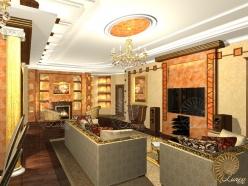 Гостиная — Дизайн двухуровнего интерьера в Одинцово