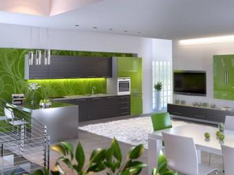 Aнтистрессовая кухня в зеленых тонах